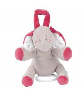 NOUKIES Peluche Musicale doudou Elephant rose Framboise gris Motif Anna 15 cm