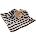 Doudou plat Lapin l'Hermione Armor-Lux Iffig blanc beige rayures