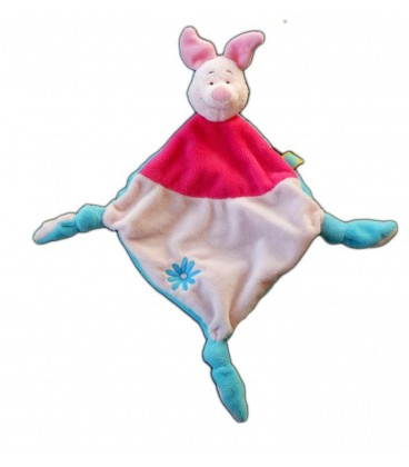 Doudou plat Porcinet Disney Baby Nicotoy Rose Fleur bleue 3 noeuds