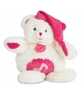 BABY NAT Doudou peluche musicale lapin calin blanc rose BN072