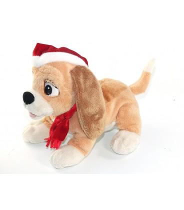 Doudou peluche Chien ROX ET ROUKY Bonnet Echarpe Noël Disney Disneyland Resort 30 cm