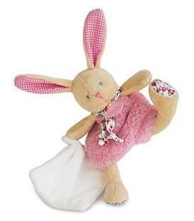 Baby nat Poupi Doudou Lapin Rose mouchoir blanc 25 cm