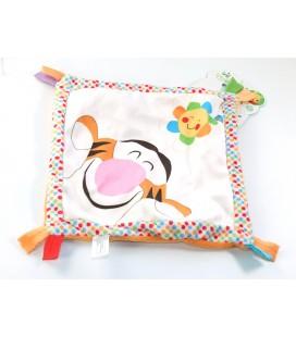 TIGROU Doudou plat Mouchoir Good Morning Disney Baby blanc orange fleur soleil