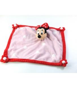 Doudou plat Minnie rose rouge Pois blancs Disney Disneyland Paris Fleurs