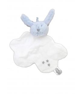 Doudou plat lapin bleu tissu blanc étoiles Mr Martin Absorba