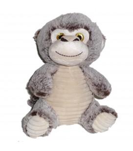 Peluche doudou singe blanc marron gris chine 26 cm assis