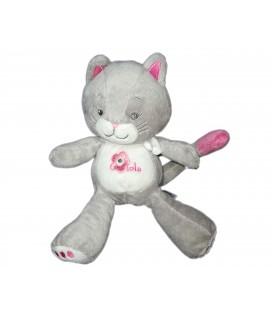 Doudou peluche Chat gris rose Arthur et Lola 21 cm