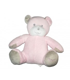 doudou peluche ours rose gris 18 cm Musti de Mustela