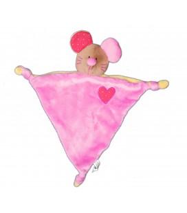 Doudou plat souris rose coeur rouge 3 noeuds Kikou
