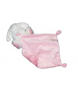 Peluche doudou lapin blanc mouchoir rose TEX Baby Carrefour