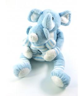 Peluche doudou elephant bleu Ajena et son bebe 30 cm