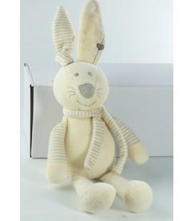 Doudou lapin beige rayures Gemo 35 cm oreilles levees Echarpe coeur