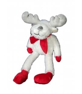 Peluche doudou Renne elan cerf blanc rouge Courtepaille peluche Noel 42 cm