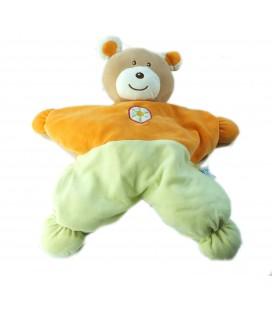 Peluche doudou range Pyjama ours orange vert 38 cm Ajena