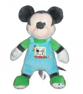 Peluche doudou Mickey bleu vert salopette 25 cm Disney Nicotoy