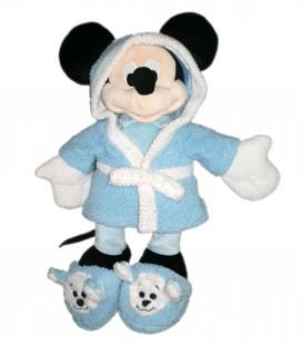Peluche doudou Mickey Peignoir chaussons bleus 45 cm Disney Disneyland Paris