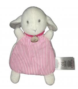 Doudou plat Mouton blanc rose rayures 18 cm Jacadi Paris