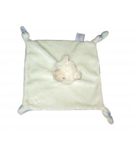 Doudou plat mouton blanc bleu Avene Pediatril Attache tetine