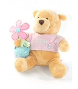 Peluche doudou Winnie Spring Pooh Fleur papillon pull rose 20 cm Collector Disney Store