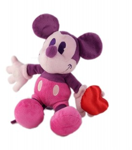 Peluche doudou Minnie Mickey rose mauve Coeur 22 cm Disney Disneyland Paris
