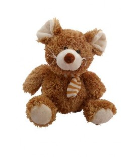 Doudou peluche SOURIS marron CP INTERNaTIONaL - Echarpe rayée - 20 cm