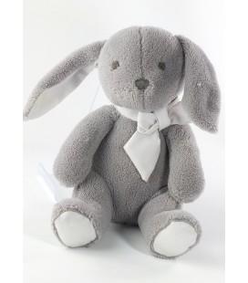 Peluche doudou Lapin gris Jacadi noeud blanc 26 cm