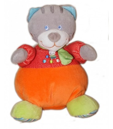 Doudou peluche musicale chat orange rouge Mots d enfants 24 cm