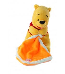 Peluche doudou Winnie the pooh Mouchoir orange Papillon Disney Nicotoy assis 22 cm