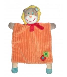Doudou plat lion orange Mots d Enfants Pomme champignon
