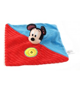Doudou plat Mickey bleu rouge Bouton Disney Nicotoy 587/4588