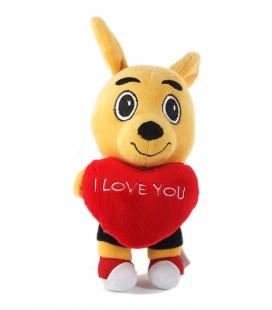 Peluche doudou Kangourou Walibi Coeur Love you 24 cm
