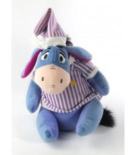 Peluche doudou Bourriquet Eeyore Pyjama chemise rayee mauve violette 22 cm Disney