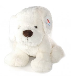 Grande peluche 38 cm chien blanc nez marron Nicotoy 583/1345