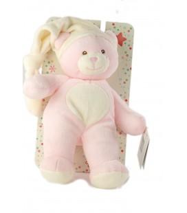 Doudou peluche ours rose bonnet blanc Gipsy 28 cm