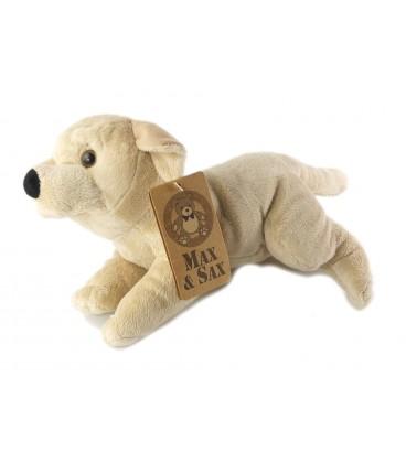 Peluche Doudou chien beige clair allonge Carrefour Max & Sax 32 cm
