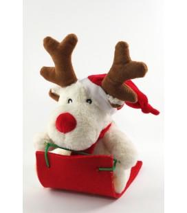 Peluche Noel doudou Renne blanc traineau bonnet rouge Fizzy 26 cm