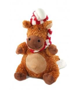 Doudou peluche cheval elan renne cerf Noël Kimbaloo Bonnet echarpe rouge rayée 24 cm