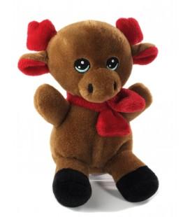 Peluche doudou Renne marron bebe Echarpe rouge PEEKO 25 cm