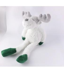 Peluche doudou Renne elan cerf blanc vert Courtepaille peluche Noel 42 cm