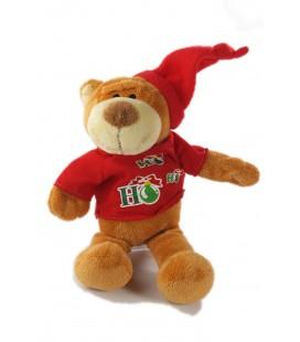 Peluche Noel doudou ours marron HO HO HO Fizzy 26 cm