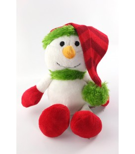 Doudou peluche Bonhomme de neige blanc rouge vert Peeko 25 cm