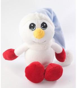 Doudou peluche Bonhomme de neige blanc rouge bleu Peeko 25 cm