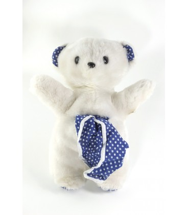 Peluche doudou ours blanc bleu pois poche Mouchoir Boulgom 30 cm
