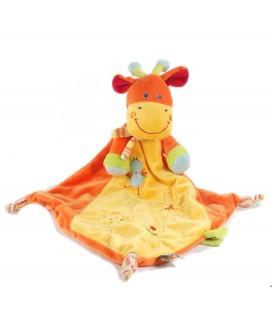 Doudou plat Girafe orange jaune Mots d'Enfants poussin oiseau attache sucette