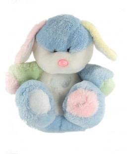 Peluche lapin blanc bleu rose Boulgom 26 cm