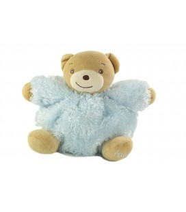 Peluche doudou ours Kaloo gris bleu fourrure 18 cm