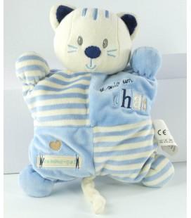 Peluche doudou ours bleu blanc Kiabi Avda train rayures 25 cm