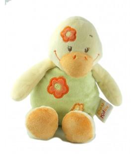 Peluche doudou Canard vert orange Dou Kidou 28 cm