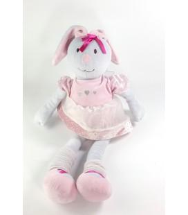 Peluche doudou Lapin gris rose tutu coeurs Nounours 48 cm