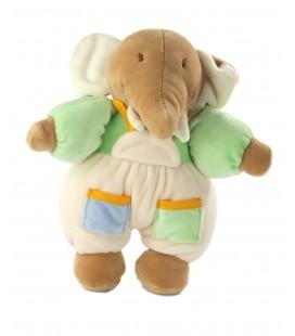 Peluche doudou Elephant vert salopette Ajena 22 cm grelot